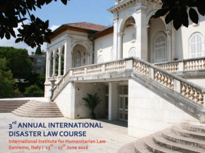 Apply to the III Edition of the International Disaster Law Course!